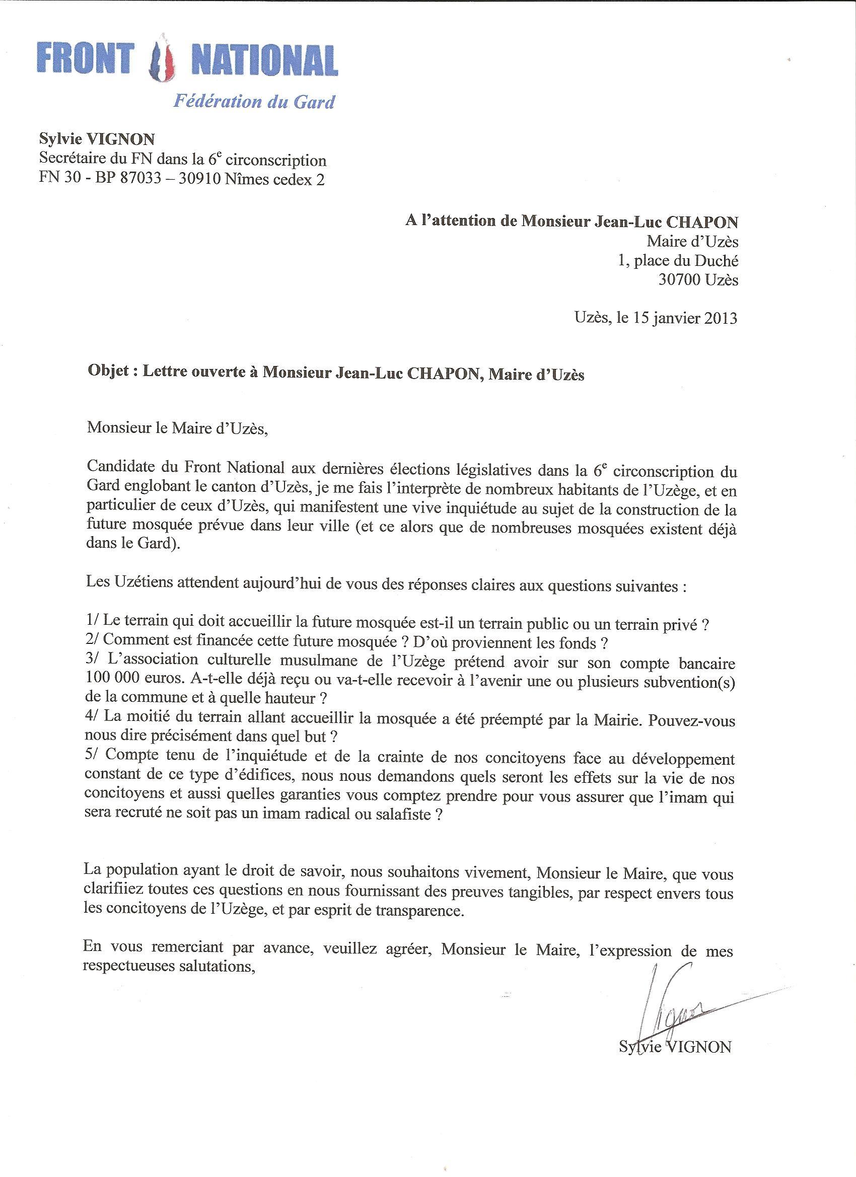 Mosqu 233 E D Uz 232 S Lettre Ouverte De Sylvie Vignon Au Maire